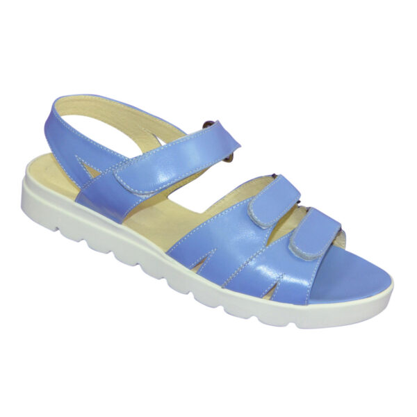 Женские босоножки на липучках из натуральной кожи голубого цвета, утолщенная подошва
