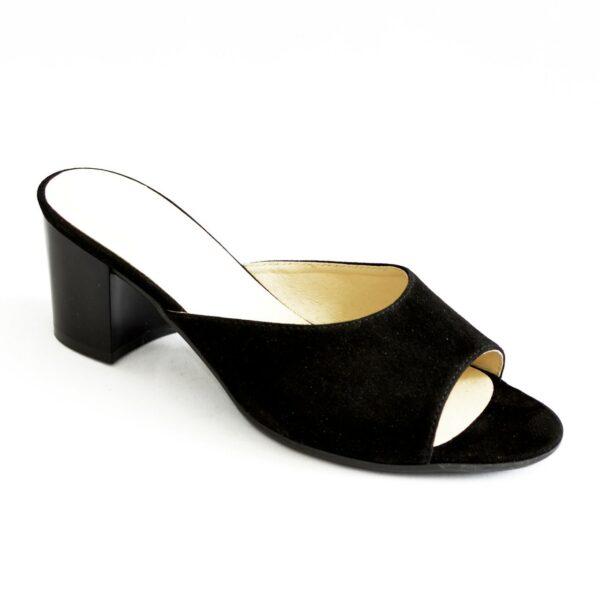 Сабо женские замшевые черные на устойчивом каблуке