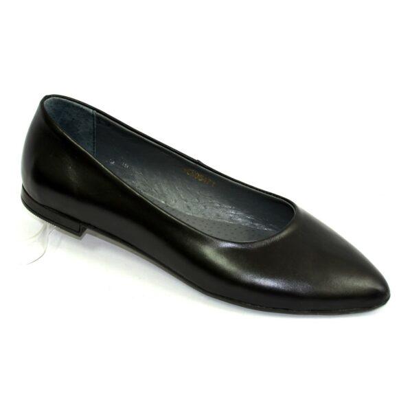 Женские кожаные туфли-балетки с заостренным носком, цвет черный, 36 размер