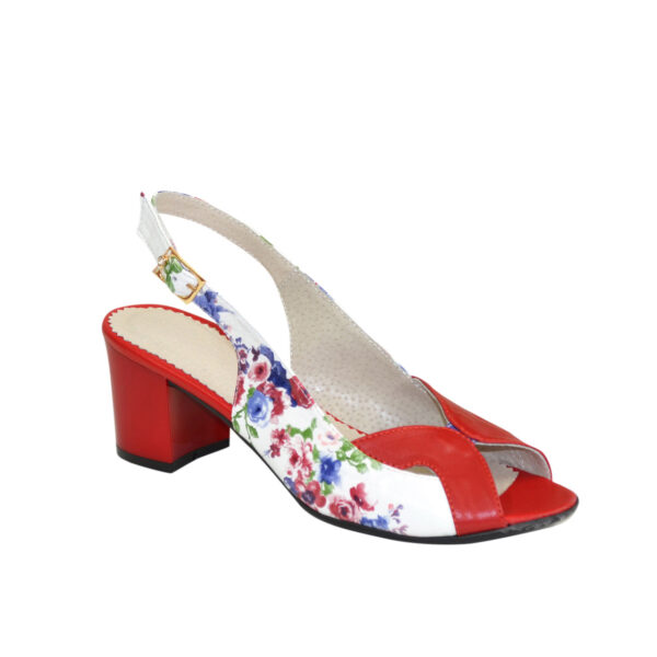Женские босоножки на устойчивом каблуке, натуральная красная кожа и кожа с цветочным принтом