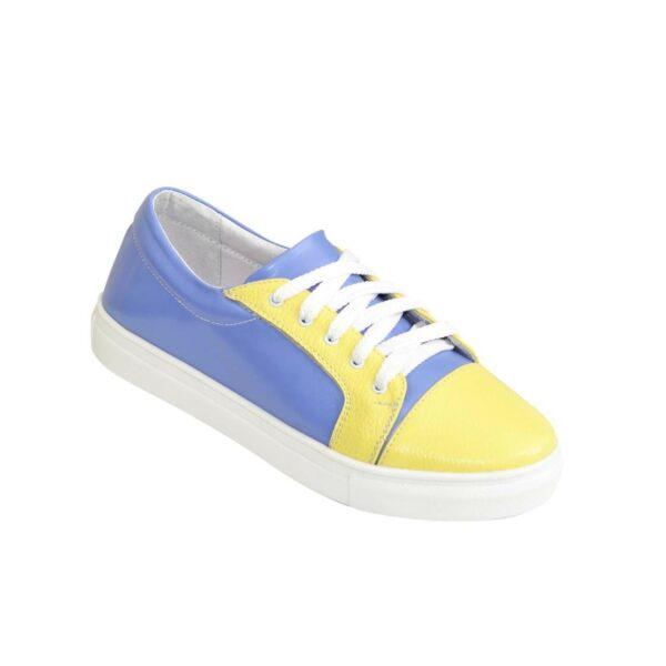 Женские мокасины на утолщенной плоской подошве, натуральная кожа желтого и голубого цвета