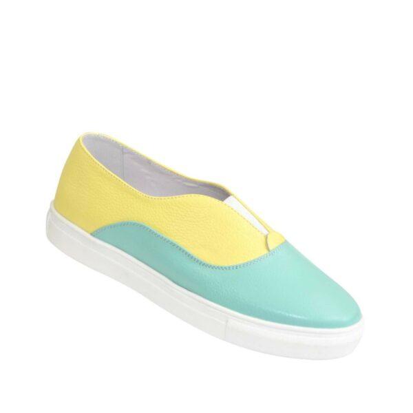 Женские туфли на утолщенной плоской подошве, натуральная кожа желтого и мятного цвета
