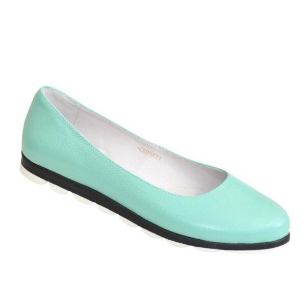 Женские мятные туфли из натуральной кожи на низком ходу