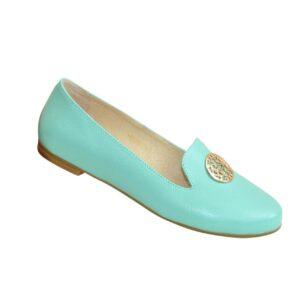 Туфли женские из натуральной кожи цвет мята на невысоком каблучке