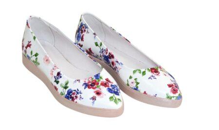 Туфли-балетки женские из натуральной кожи на утолщенной белой подошве