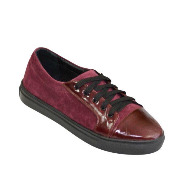 Женские туфли на утолщенной плоской подошве, натуральная кожа и замша бордового цвета