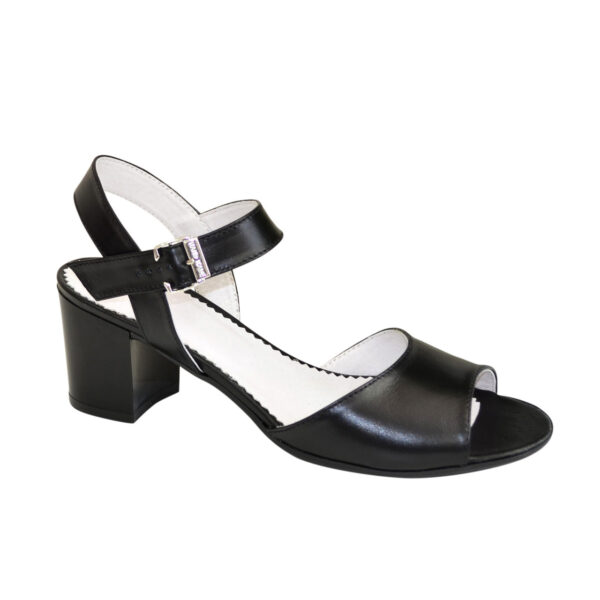 Кожаные женские босоножки на устойчивом каблуке, цвет черный