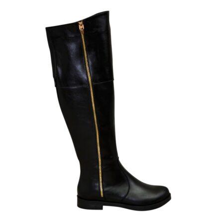 Ботфорты кожаные женские черные на низком ходу, осень зима