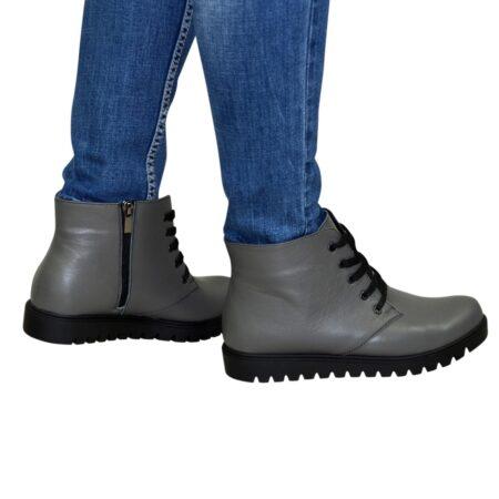 Ботинки женские серые кожаные на шнуровке осень зима, утолщенная подошва