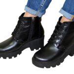 Женские зимние кожаные ботинки на шнуровке, черный цвет