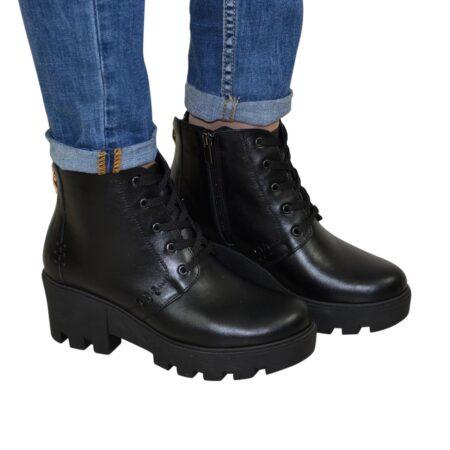 кожаные черные женские ботинки зима -осень на тракторной подошве со шнуровкой