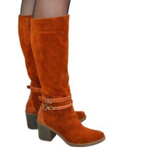 Женские рыжие замшевые сапоги на устойчивом каблуке, зима осень