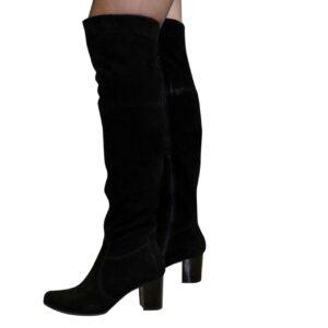 Ботфорты осень зима замшевые на устойчивом каблуке черного цвета