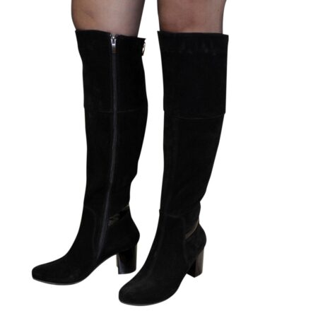 Ботфорты замшевые черные на устойчивом каблуке, осень зима
