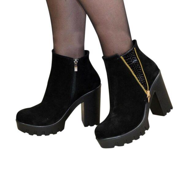 Полуботинки зимние женские замшевые на высоком каблуке