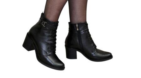 Женские кожаные ботильоны черного цвета на устойчивом каблуке,демисезон-зима