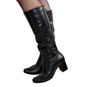 Женские черные кожаные сапоги на устойчивом каблуке, зима осень