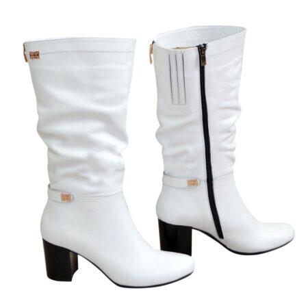 Сапоги белые кожаные женские на невысоком устойчивом каблуке, зима осень