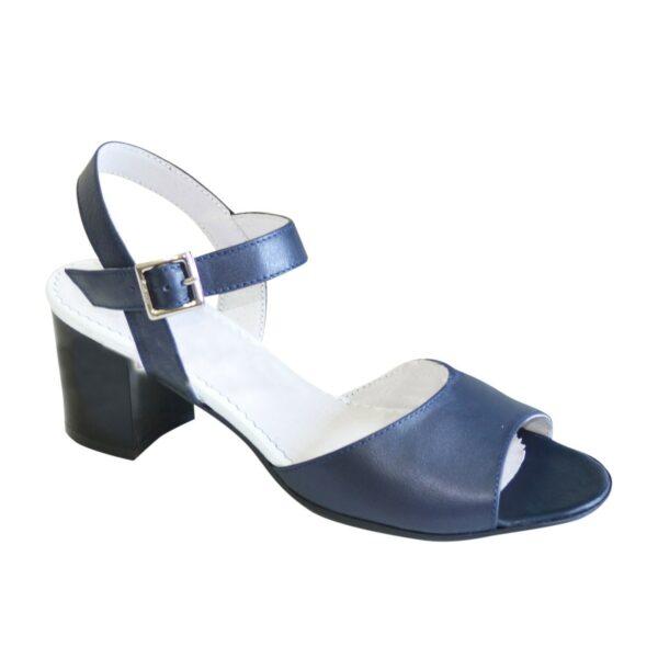 Босоножки кожаные женские на устойчивом каблуке, цвет синий
