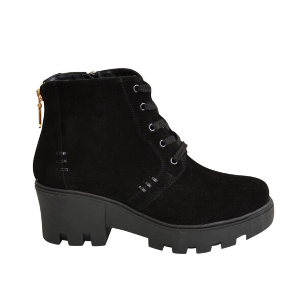 Женские зимние замшевые ботинки на шнуровке, черный цвет