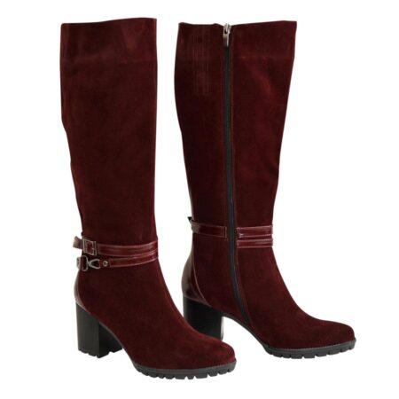 Сапоги бордовые женские замшевые на устойчивом каблуке, зима осень