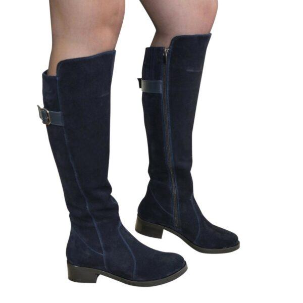 Сапоги синие женские демисезонные замшевые на невысоком устойчивом каблуке