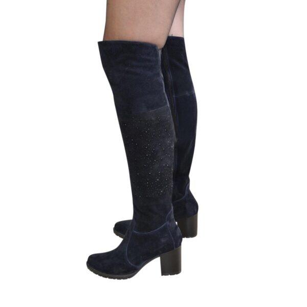 Ботфорты зимние замшевые на устойчивом каблуке, цвет синий
