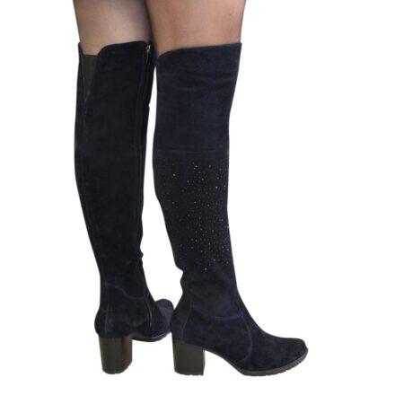 Ботфорты зима осень замшевые на устойчивом каблуке, цвет синий