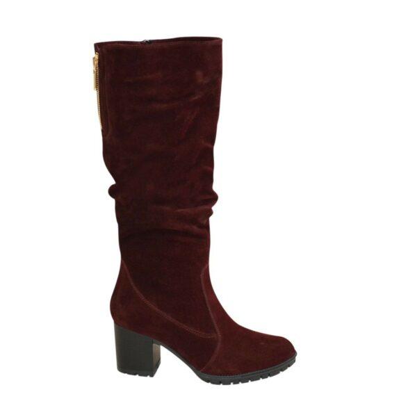 Сапоги женские демисезонные бордовые замшевые на устойчивом каблуке