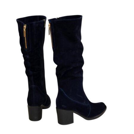 Сапоги женские осень зима синие замшевые, на устойчивом каблуке
