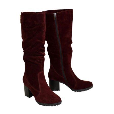 Сапоги женские осень зима бордовые замшевые, на устойчивом каблуке