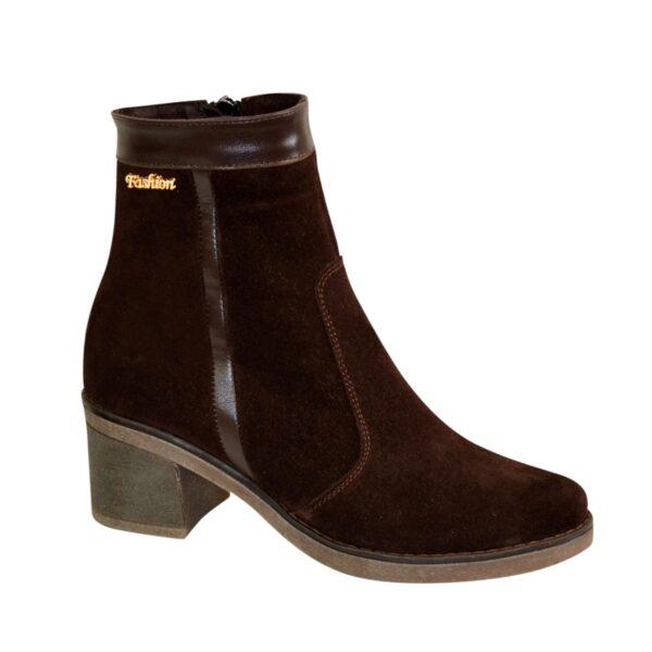 Ботинки зимние женские замшевые коричневые на невысоком каблуке