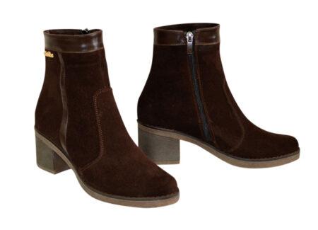 замшевые женские ботинки зима-осень на удобном широком каблуке,цвет коричневый