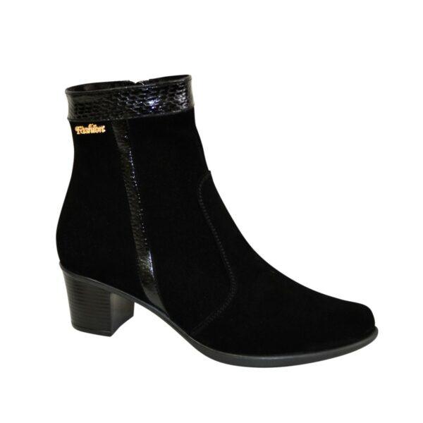 Ботинки женские зимние черные на невысоком каблуке, натуральная замша и кожа с тиснением питон