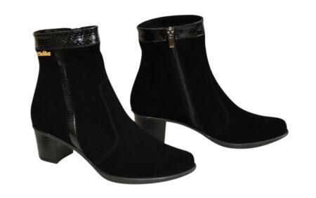 Ботинки женские зимние-осень из натуральной черной замши на удобном невысоком каблуке