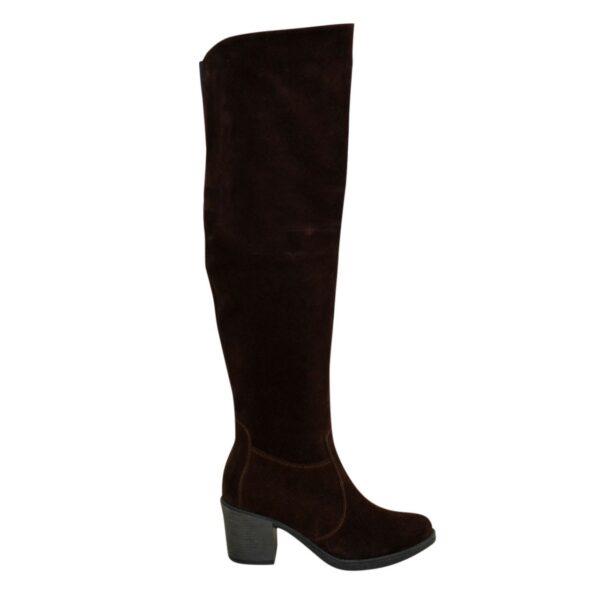 Ботфорты зимние замшевые на устойчивом каблуке, цвет коричневый