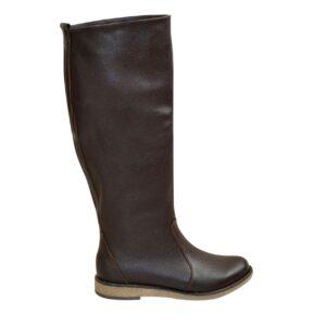 Сапоги-трубы коричневые кожаные женские осень зима, на низком ходу,