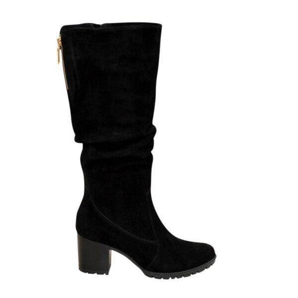 Сапоги женские демисезонные черные замшевые на устойчивом каблуке