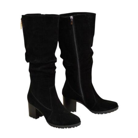 Сапоги женские черные замшевые зима осень на устойчивом каблуке