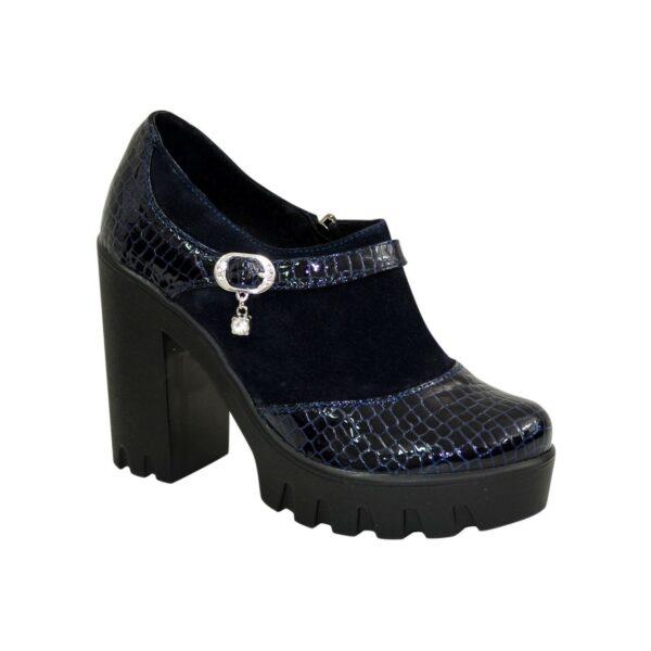 Женские синие туфли на тракторной подошве, натуральная лаковая кожа питон и замш
