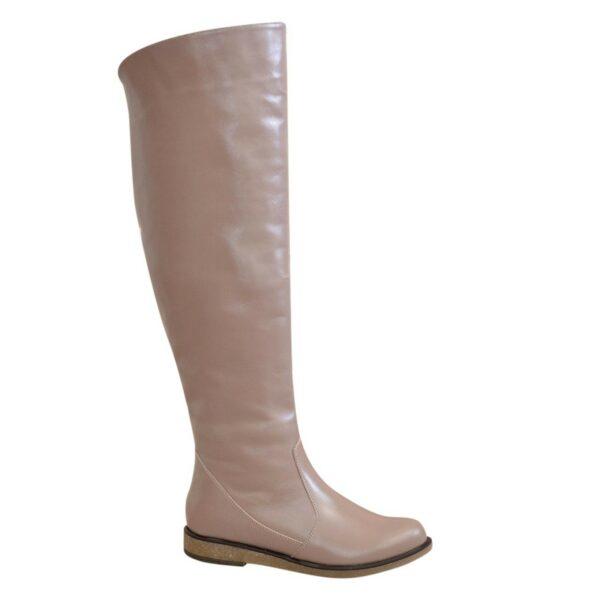 Ботфорты демисезонные женские кожаные на низком ходу, цвет визон
