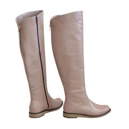 Ботфорты зимние женские кожаные на низком ходу, цвет визон