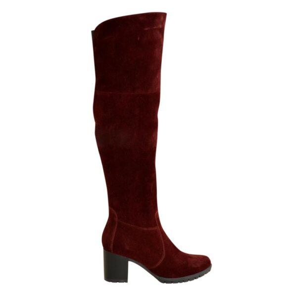 Ботфорты зимние замшевые на устойчивом каблуке, цвет бордо