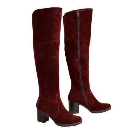 Ботфорты зима осень замшевые на устойчивом каблуке, цвет бордо