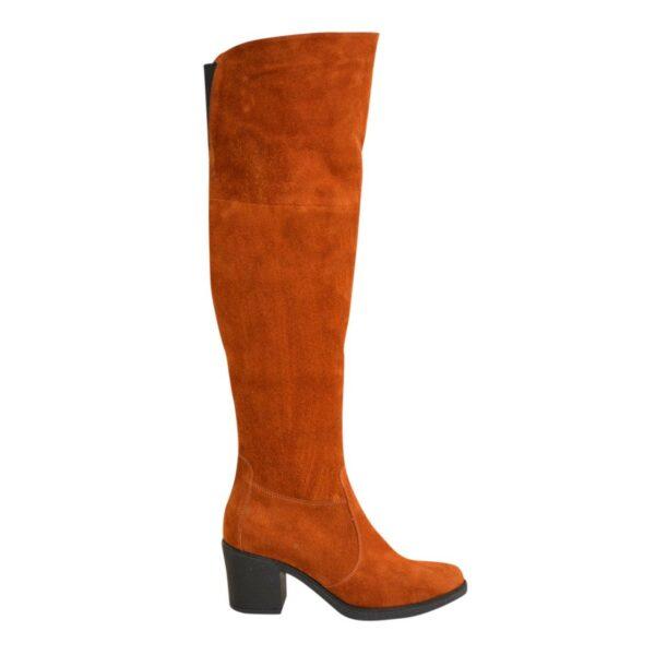 Ботфорты зимние замшевые на устойчивом каблуке, цвет рыжий