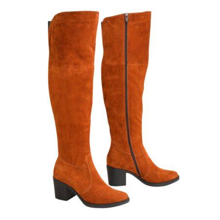 Ботфорты зима осень замшевые на устойчивом каблуке, рыжие