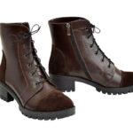 Ботинки коричневые женские кожаные демисезонные на устойчивом каблуке, декорированы замшевыми вставками
