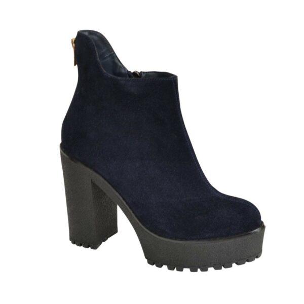 Ботинки замшевые женские зимние на высоком каблуке