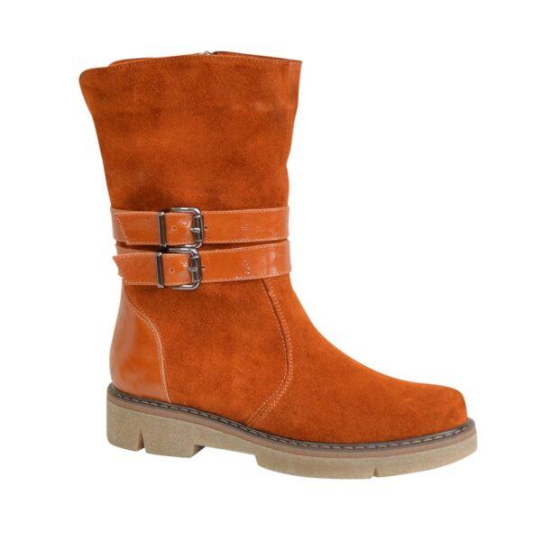 Ботинки замшевые рыжие женские зимние на утолщенной подошве