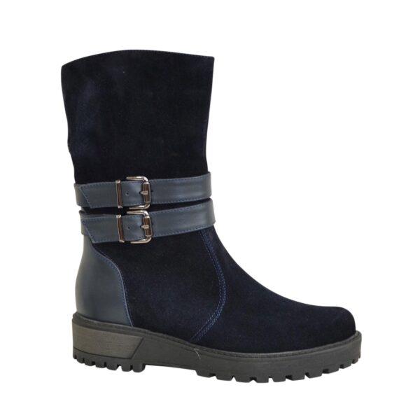 Ботинки замшевые синие женские зимние на утолщенной подошве